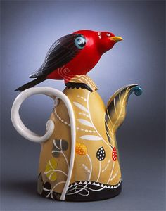 Scarlet Tanager Porcelain Teapot by Annette Corcoran Pottery Teapots, Teapots And Cups, Ceramic Teapots, Ceramic Pottery, Pottery Art, Chocolate Pots, Ceramic Artists, Handmade Pottery, My Tea