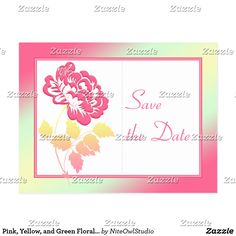 Pink, Yellow, and Green Floral Save the Date Postcard