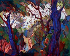 Dramatic lines and contrasting colors, original oil painting by Erin Hanson