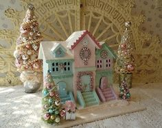 Shabby Pastel House with Bottle Brush Trees Pink by IllusiveSwan