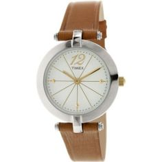 Timex Women's Greenwich T2P543 Brown Leather Quartz Watch