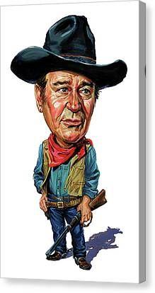 John Wayne Canvas Print Canvas Art By Art Caricature Funny Caricatures Celebrity Caricatures