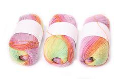 rainbow cotton yarn, crocheting yarn, multicolor knitting, embroidery, tassels, pom poms,  thread, green, orange, pink, yellow ombre yarn