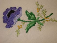 Vintage 34 X 34 Hand Embroidered Linen Tablecloth Anemones Poppies Flowers