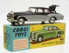 Corgi Toys No.224 Bentley Continental. Jewelled headlamps and opening boot with spare wheel. Mum bought me a green and white one of these when I went to the dentist one day