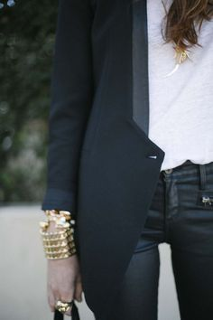 Tuxedo Touch with nice jewelry.