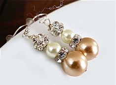 Wedding Earrings with Ivory Cream Champagne by SukranKirtisJewelry, $32.00