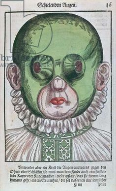 Mask for treating a strabismus, from 'Ophthalmodouleia' by Georg Bartisch (1535-1636) published in Dresden in 1583 (colour woodblock print)