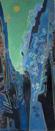 John Craxton a painting of a ravine bathed in blue light Benaki Museum, Egyptian Mummies, Museum Displays, Byzantine Art, Irish Art, British Museum, Great Artists, Light In The Dark, Art Inspo