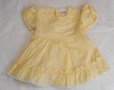 Yellow Vintage Baby Infant Girl Dress Size 9 Months