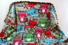 Purr Kittys 42x42 Crochet Edge Fleece Blankets by MonaSewingTreasures on Etsy