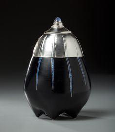 Sarah Perkins Black Lined Container 2011 copper, silver, enamel, chalcedony