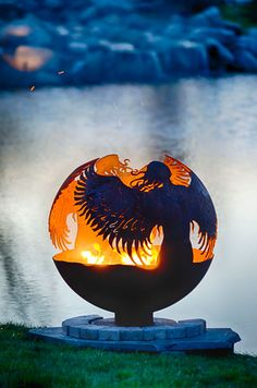 Hidden - Angel Themed Fire Pit Artistic Fireball Sphere Sculpture