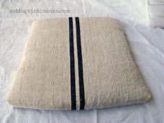 How To Cover Chair Cushions {Grain Sack} - Cottage in the Oaks Vintage Fabrics, Vintage Linen, Coffee Sacks, Outdoor Furniture Covers, Dining Room Chair Cushions, King Size Pillows, Grain Sack, Dark Wax, Painted Chairs