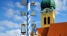 Maypole in front of a church in Wolnzach, Bavaria, Germany (© Guenter Rossenbach/Corbis)(Bing United States)