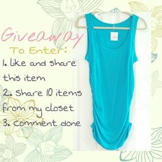 Giveaway Ends May 20th! Enter the! Read below. NWT Carlon Blue Ruched tank top from Nordstroms. Size large. However, it could fit a size medium as a longer tank over leggings or skinnies.  Follow instructions on picture to enter. All instructions must be followed to enter. Winner will be announced May 20th 2016 in a comment. Winner can comment their address or send to me in an email. lululemon athletica Tops Tank Tops