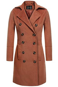 53032185656ec Women Double Breasted Coat with Two Front Flap Pockets Wool Blend Overcoat  (3 Colors