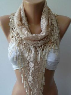 Elegance Scarf -Beige -  with Lacy Edge.$13.50