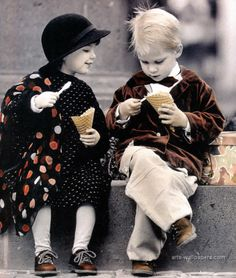 Cuties eating their ice creams . Made by Kim Anderson