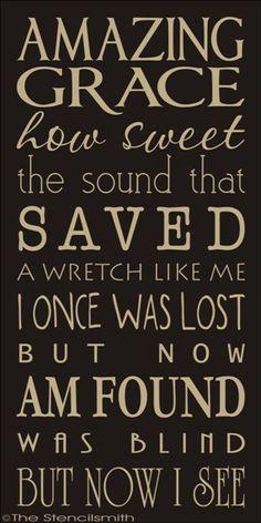 1765 - AMAZING GRACE-amazing grace stencil typography subway word art how sweet the sound americana lyrics song