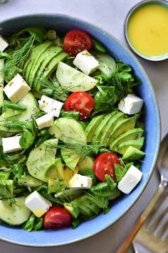 Cucumber, avocado, dill and feta cheese salad. A very light and delicious salad, perfect for a barbecue or simply as an addition to a meat dinner. Best Salad Recipes, Healthy Recipes, Delicious Recipes, Cucumber Avocado Salad, Cheese Salad, Aesthetic Food, Side Dish Recipes, Feta, Food Processor Recipes