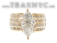 This gorgeous Ring features H color, Princess cut diamonds in a Yellow Gold Invisible & Prong setting. Best Engagement Rings, Beautiful Engagement Rings, Beautiful Rings, Marquise Cut Diamond Ring, Diamond Cuts, Diamond Rings, Antique Wedding Rings, Bling, Jewels