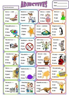 A fun and easy grammar worksheet for young learners about adjectives. There are many sentences to practice and a lot of adjectives to get to know. Easy Grammar, Teaching English Grammar, English Writing Skills, Grammar Lessons, English Language Learning, English Lessons, English Vocabulary, Learn English, Writing Tips