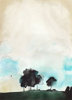 Large Abstract Painting - Landscape Watercolor Painting - Fragile - 20x30 Print…