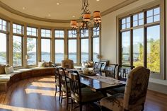 Breakfast room with curved wall and benches