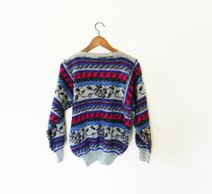 Bold Geometric Floral Vintage Sweater /Sparkle Knit 80's Sweater / Cosby Sweater / Vintage Jumper