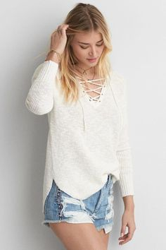 American Eagle Outfitters AE Lace-Up Sweater