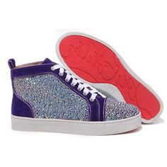 380cdc90f70498 New Arrivals Christian Louboutin Louis Strass High Top Mens Suede Sneakers  Purple