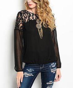 Buy in America Black Lace-Yoke Blouson Top   zulily