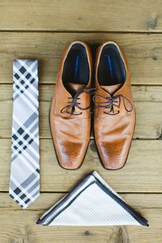 Blue and brown grooms accessories
