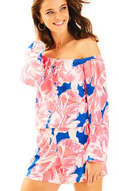 Lilly Pulitzer Women's S Lana Romper Off Shoulder Tiki Beach Bliss Neon Pink Playsuit Dress, Off Shoulder Romper, Shoulder Tops, Girls Night Out Outfits, Resort Wear For Women, Cute Rompers, Beach Dresses, Beach Outfits, Spring