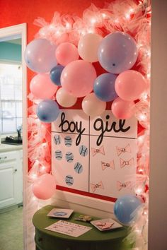 Check out this fun baby shower game! It sure makes for an interesting baby shower activity for a gender reveal party! Baseball Gender Reveal, Baby Gender Reveal Party, Gender Party, Gender Reveal Box, Idee Baby Shower, Baby Shower Drinks, Shower Bebe, Invitacion Baby Shower Originales, Gender Reveal Party Decorations