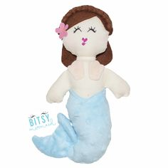Emma the Mermaid - Handmade Mermaid Doll by BitsyMermaid - This is Emma. She loves the snow and loves the cool icy water of winter. Her favorite chilly weather activity is making snow-mer-angels.