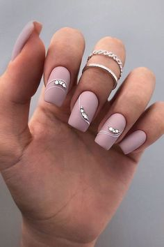 wedding nails trends pink designs matte with rhinestones and stripes nailartist_natali Square Nail Designs, Pink Nail Designs, Pink Design, Nails Design, Fabulous Nails, Gorgeous Nails, Matte Pink Nails, Matte Nail Art, Acrylic Nails