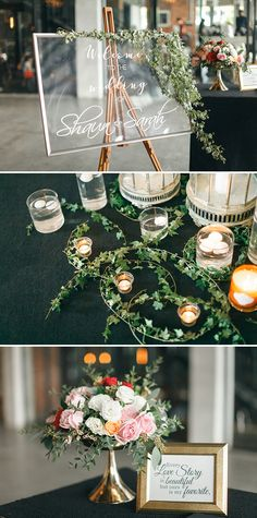 Gorgeous transparent board with calligraphy and decorated with greenery, candles and white and pink florals with gold framed calligraphy // Shaun and Sarah tied the knot in a simple church ceremony shot by Wefreeze Photography and planned by The White Atelier. Tasteful, minimalist décor and a striking colour palette of white, blush and burgundy made for a celebration to remember.