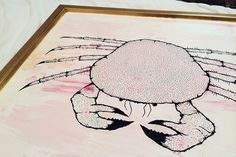 Framed Original PaintingAcrylic and Posca on thin (with frame Crab Art, Posca, Original Paintings, Kids Rugs, Fish, The Originals, Wood, Image, Home Decor