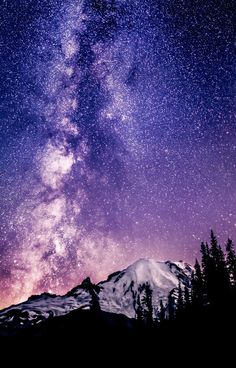 Milky Way over Mount Rainier, Washington State by Alexis Coram night-Sky stars Beautiful World, Beautiful Places, Beautiful Pictures, Ciel Nocturne, To Infinity And Beyond, Adventure Is Out There, Milky Way, Oh The Places You'll Go, Washington State