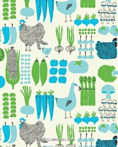 Pattern of Vegetables and Chickens