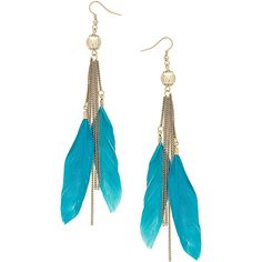 17e7d785c863 Turquoise feather chain drop ❤ liked on Polyvore