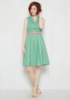 It's an Inspired Taste Dress in Sage. While some styles have to earn their admiration, this belted shirt dress is an instantaneous favorite. New Pakistani Dresses, Cotton Frocks, Retro Vintage Dresses, Belted Shirt Dress, Pink Accents, New Wardrobe, Modcloth, Short Dresses, Bridesmaid Dresses