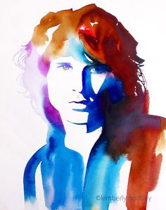 """Jim Morrison Original Watercolor Painting Portrait 1960s Fashion Retro Vintage Salon Art. Just a little reminder: Airmail from England to the USA usually only takes one to three weeks to arrive - not the four to six weeks Amazon states as the shipping time. My original painting from my retro series in teal, rose and shades of blue: When you're strange... Painting measures approx 14 x 18"""" inches on acid-free, 140lb Arches paper. Direct from my studio in Suffolk, England, Signed & dated...."""