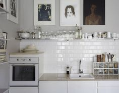 my scandinavian home: What's up in Oslo Zeitgenössisches Apartment, Apartment Interior, Kitchen Interior, Kitchen Tiles, Kitchen Dining, Kitchen Decor, Kitchen Cabinets, Kitchen Art, Cozinha Shabby Chic