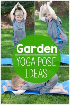 Garden yoga pose ideas!  Perfect for a garden unit, plant unit, spring themed gross motor, gross motor games for preschool and up!  Pose like a toadstool, butterfly or seed!