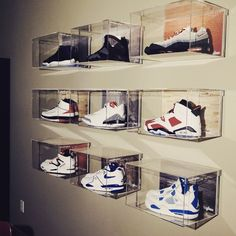 Wall Mount Shoe Box by Sneakerglass - A premium sneaker display solution. Buy the floating wall box to display your Air Jordan or Yeezy collection. Shoe Boxes On Wall, Shoe Wall, Wall Boxes, Shoe Box Art, Sneaker Storage, Shoe Storage, Storage Ideas, Shoe Room, Shoe Closet
