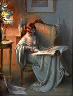 Delphin Enjolras (b.1857 – 1945), a French academic painter. D.Enjolras painted portraits, nudes, interiors, and used mostly watercolours, oil and pastels.