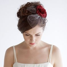 Hey, I found this really awesome Etsy listing at https://www.etsy.com/listing/192692433/bridal-birdcage-fascinator-with-red-rose